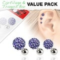 3 Pcs Value Pack of Assorted 316L Tragus Bar with Tanzanite Ferido Ball - Thumbnail 0