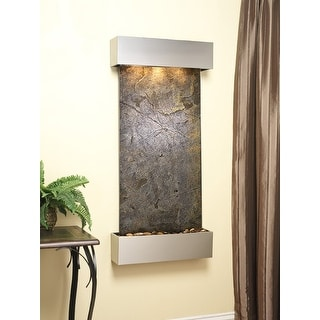 Adagio Cascade Springs Fountain w/ Green Featherstone in Stainless Steel Finish