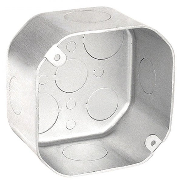 2 Pcs, 4 in  Chicago Plenum Air Tight Octagon Box, 2-1/8 in  Deep, 1/2 &  3/4 Knockouts,  0625 Galvanized Steel