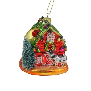 """3.75"""" Festive Red Barn with Green Roof Glass Christmas Ornament - N/A"""