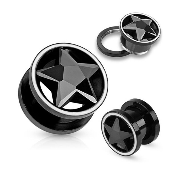 Black CZ Star Inside of Black IP Screw Fit Tunnel with White Rim (Sold Individually)