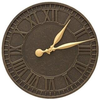 """Whitehall Geneva 16"""" Indoor/Outdoor Wall Clock (French Bronze) - Bronze"""