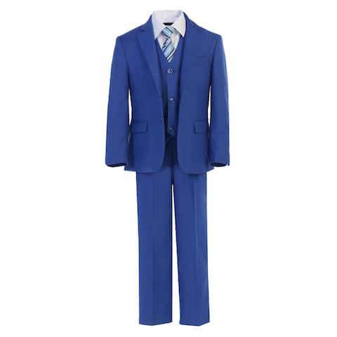 Little Boys Royal Blue Jacket Shirt Vest Clip On Tie Pants 5 Pc Suit Set