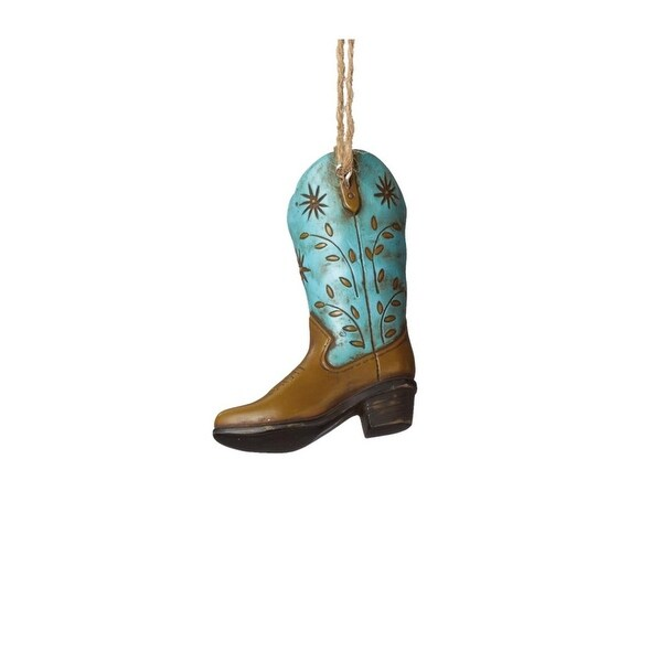 "3.5"" Wild West Teal and Brown Decorative Cowboy Boot Christmas Ornament"