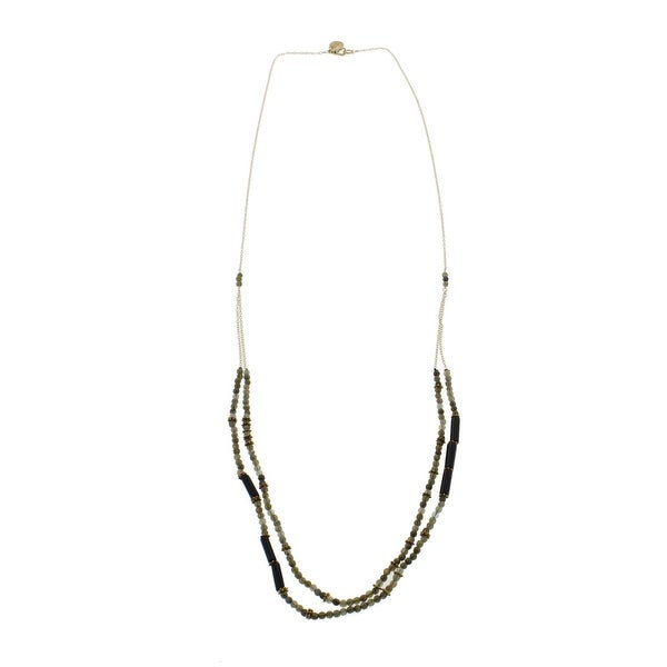 Wendy Mink Womens Multi-Chain Necklace Gold-Plated Labradorite - gold/black onyx