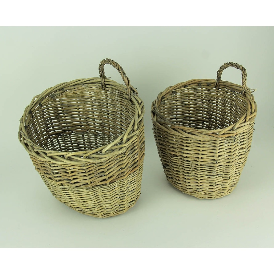 Set Of 2 Nesting Woven Willow Fat Pocket Wall Mounted Wicker Baskets 12 X 11 75 9 25 Inches
