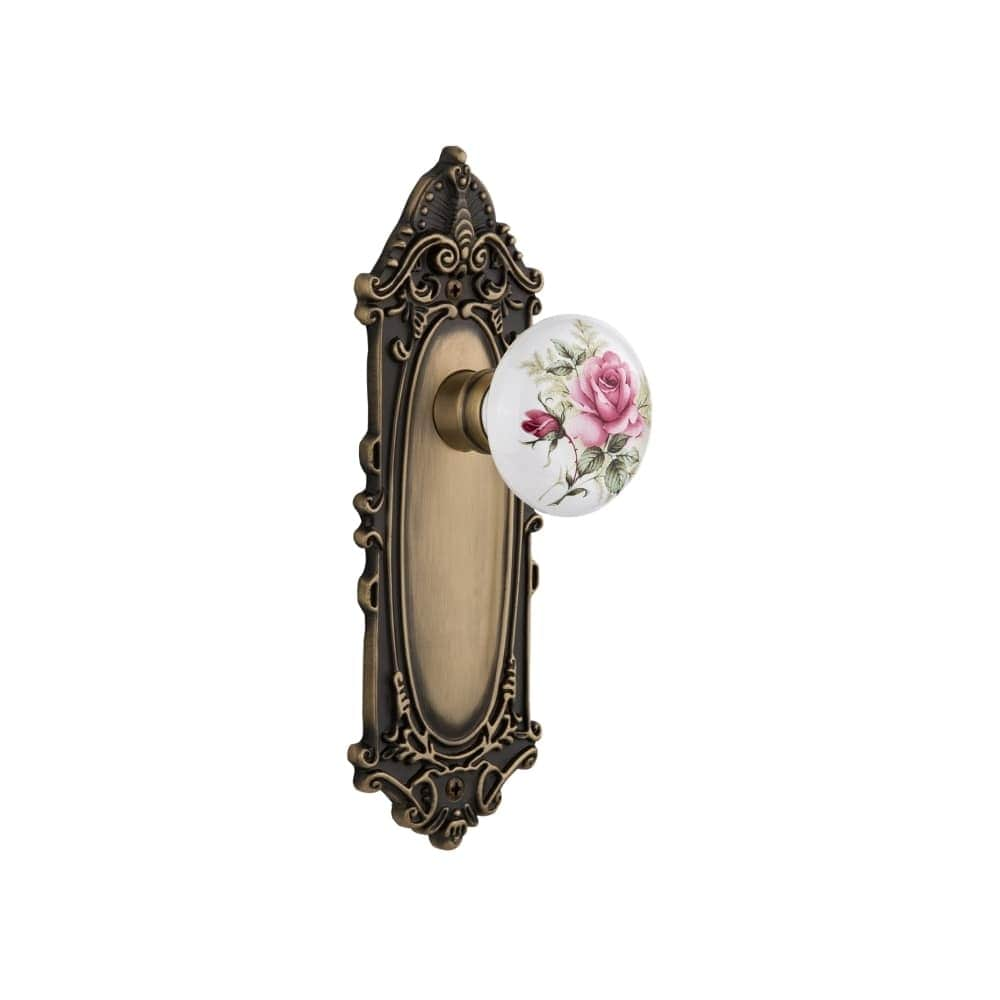 Nostalgic Warehouse VICROS_PRV_238_NK  Rose Porcelain Solid Brass Privacy Knob Set with Victorian Rose and 2-3/8 Backset (Antique Pewter)