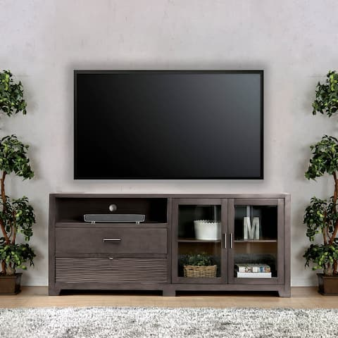 """Furniture of America Nessin Transitional 76"""" Gray TV Stand"""