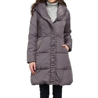 Via Spiga Gray Women's Size Medium M Puffer Full-Zipped Jacket