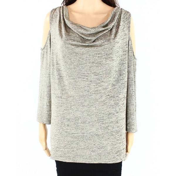Shop MSK NEW Gold Womens Size 1X Plus Cowl-Neck Cold-Shoulder Knit ...