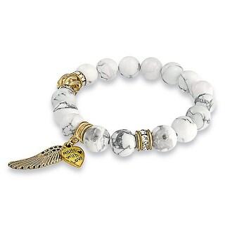 Imitation Howlite Angel Wing Stretch Bracelet Gold Plated - White