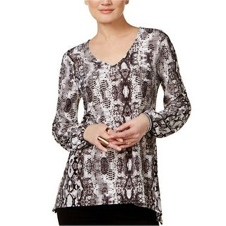 INC International Concepts Printed Handkerchief Hem Top Blouse