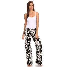 Women's Damask Black Printed Palazzo Pants Made in USA