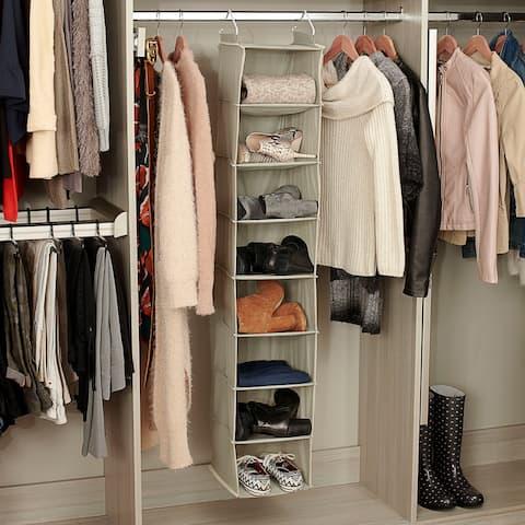 Household Essentials 8-Pocket Hanging Sweater Organizer, Sage Green - 10'' x 10'' x 52''