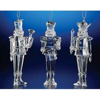 "Club Pack of 12 Icy Crystal Decorative Christmas Nutcracker Ornaments 5.5"" - CLEAR"