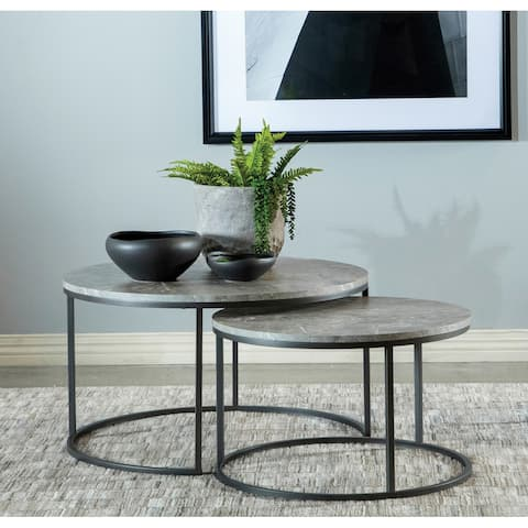 Grey and Gunmetal Round 2-piece Nesting Coffee Table