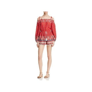 Band of Gypsies Womens Romper Printed Cold Shoulder