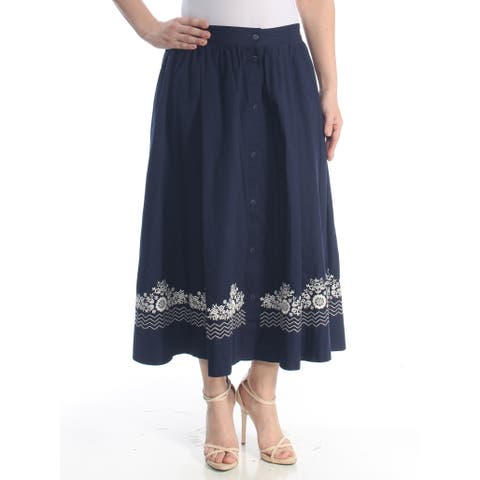 FRENCH CONNECTION Womens Navy Embroidered Button Down Floral Maxi Evening Skirt Size: 6