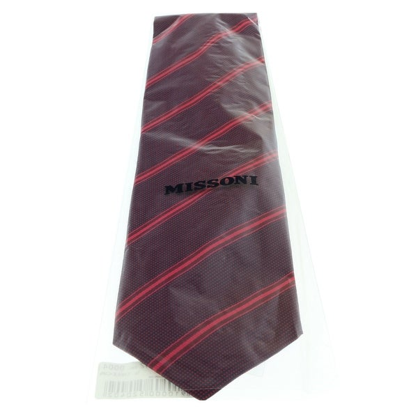 Missoni U4542 Red Regimental 100/% Silk Tie for mens
