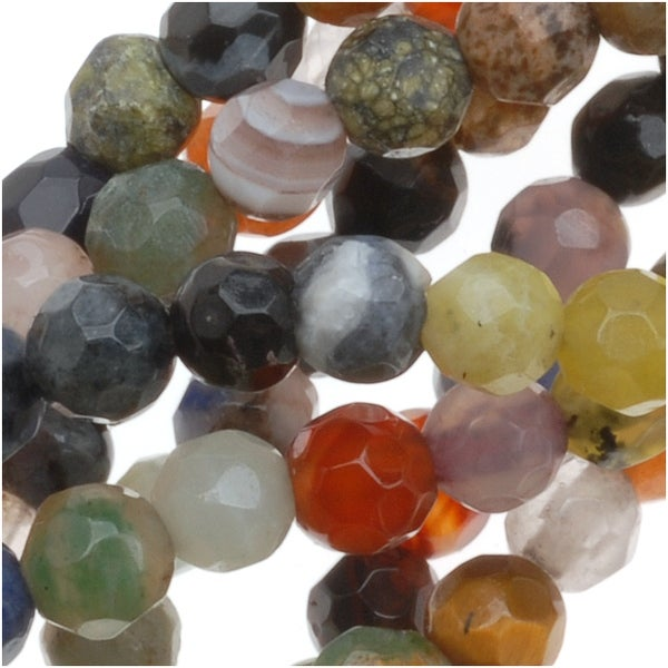 Gemstone Bead Lot Mix 4mm Faceted Round Beads - 15.5 Inch Strand