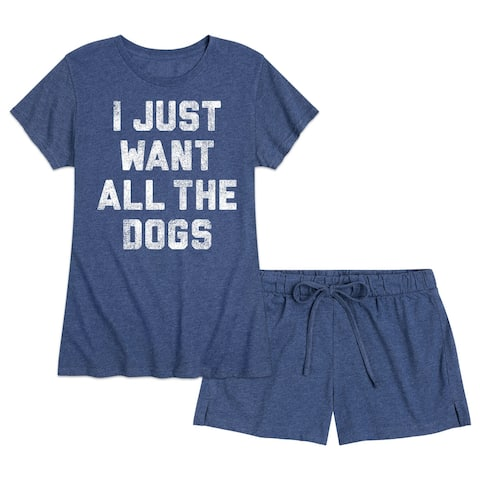 I Just Want All The Dogs - Women's Pajama Shorts Set - Heather Navy