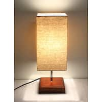 Kanstar Fine-Textured Wooden Table Lamp, Square