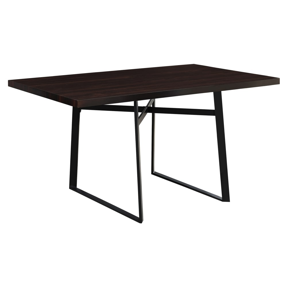 Monarch Specialties I 1105 60 Inch Wide Dining Table With Metal Legs Brown Overstock 23094181