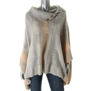 Free People Womens Wool Blend Ribbed Trim Poncho Sweater - M