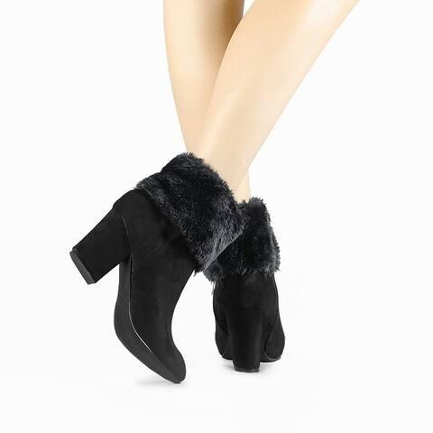 Women's Round Toe Block Heel Snow Ankle Boots