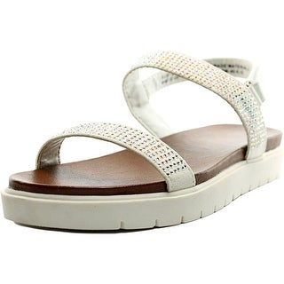Kenneth Cole Reaction Susy Sparkle Youth Open-Toe Leather White Slingback Sandal