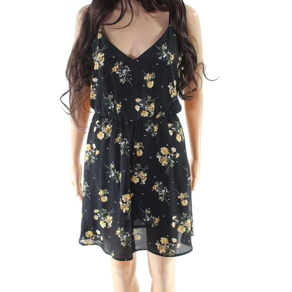 b5c9492677 Shop Lush Black Size Small S Junior Floral Print Chiffon Ruffled ...
