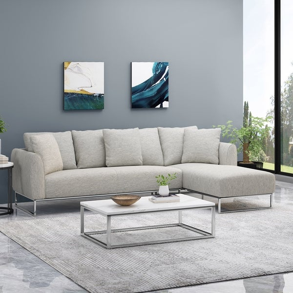 Wetmore Contemporary Sectional Sofa with Chaise Lounge by Christopher Knight Home. Opens flyout.