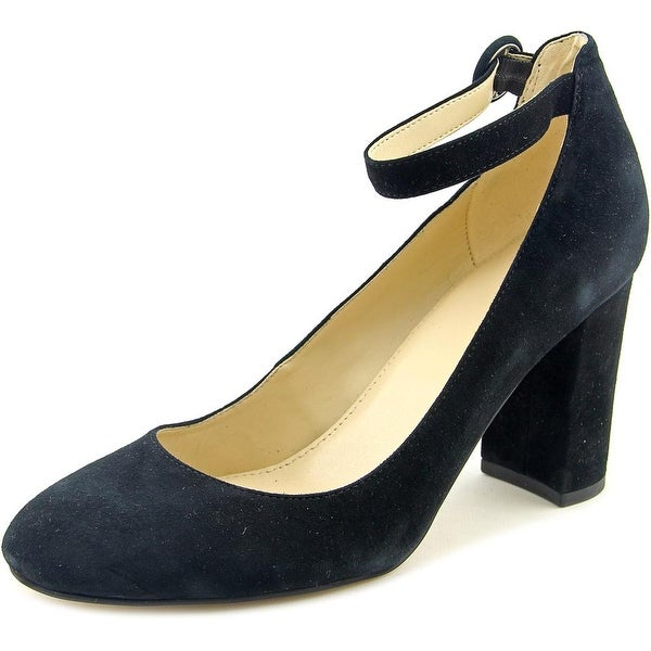 Marc Fisher Ion Women Round Toe Suede Black Heels