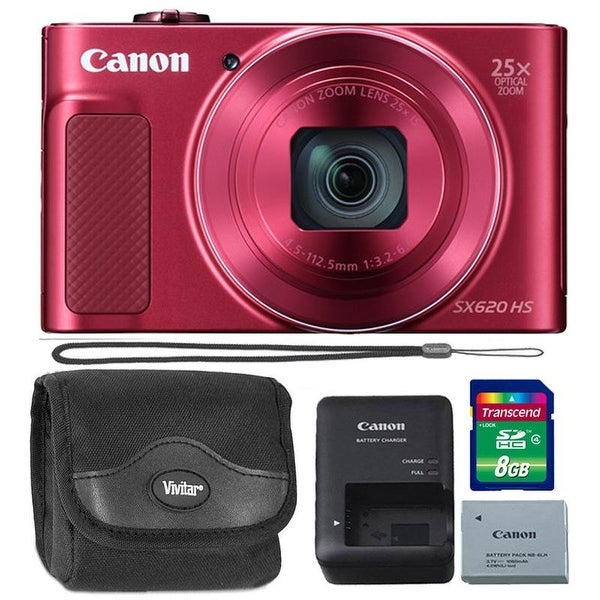 Canon PowerShot SX620 20.2MP HS Digital Camera Red 8GB Kit