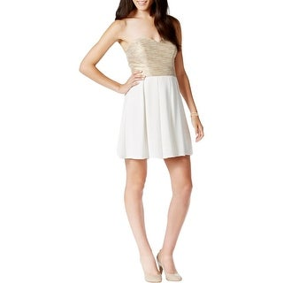 City Studio Womens Juniors Party Dress Metallic A-Line
