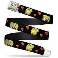 Sponge Bob Face Close Up Sponge Bob Love Eyes Hearts Black Red Webbing Seatbelt Belt