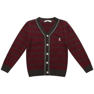 Richie House Boys Burgundy Striped R Embroidery Cardigan Sweater 7-9