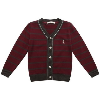 Richie House Little Boys Burgundy Striped R Embroidery Cardigan Sweater 3-6