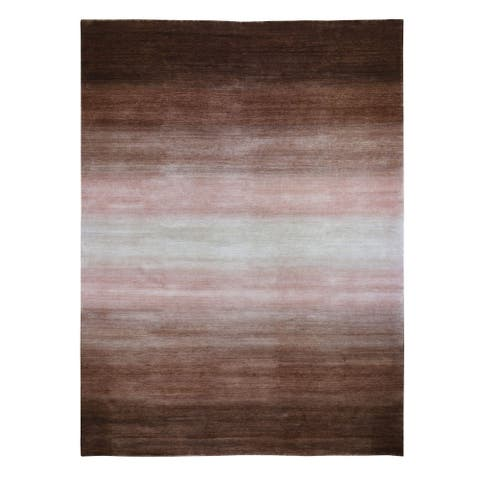 """Hand Knotted Brown Modern and Contemporary with Wool Oriental Rug (12'4"""" x 15') - 12'4"""" x 15'"""