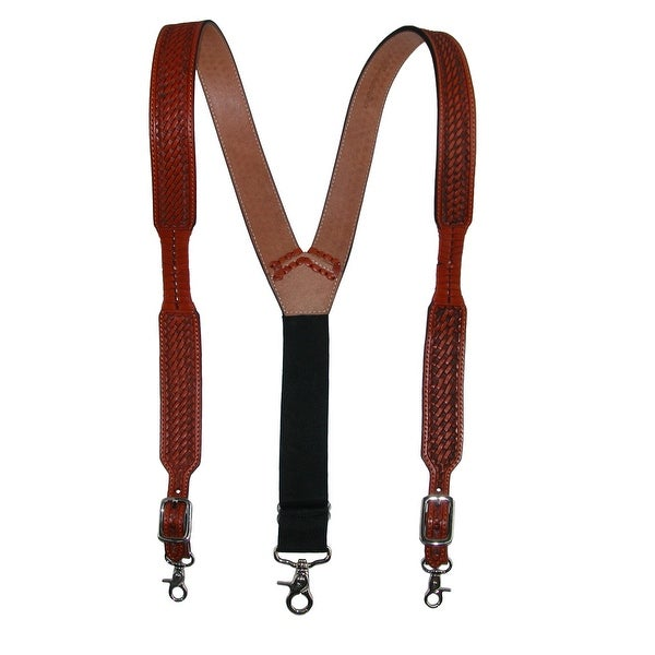 3 D Belt Company Men's Big & Tall Leather Suspenders with Metal Swivel Hook Ends - One size