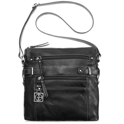 Giani Bernini Pebble Leather Multi Zip Pocket Crossbody Black