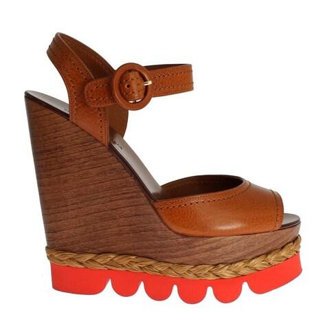 Dolce & Gabbana Brown Leather Strap Wedges Platform Shoes - 41