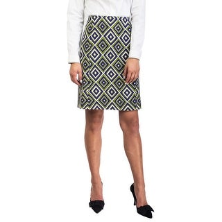Prada Women's Virgin Wool Geometric Print Skirt Green (2 options available)