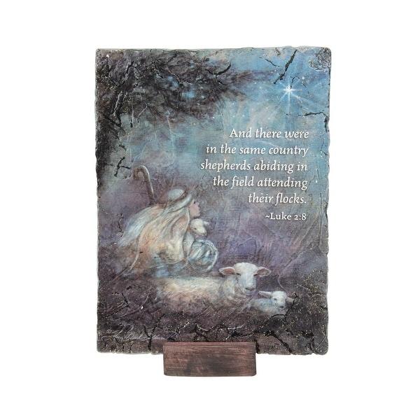 "7"" Subtle Colored Inspirational Luke 2:8 Religious Themed Christmas Rectangular Plaque"