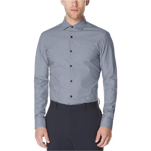 Perry Ellis Mens Broken Stripes Button Up Shirt, Blue, XX-Large