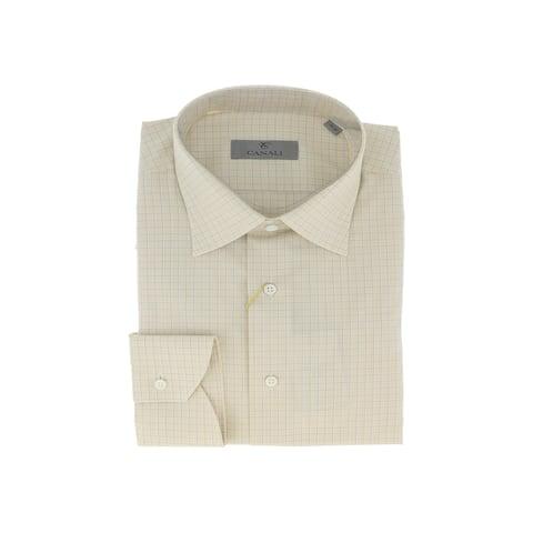 Canali Yellow/Blue Tattersall Check Formal Shirts