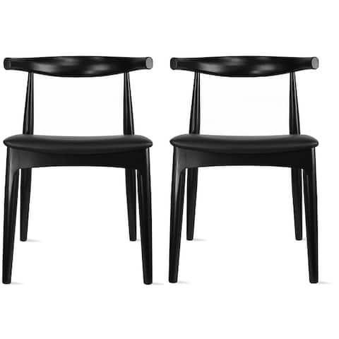 Set of 2 Mid Century Modern Walnut Brown Dark Wood PU Leather Cushion Padded Seat Kitchen Dining Armless Side Chair