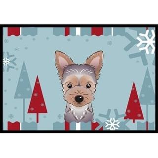 Carolines Treasures BB1728MAT Winter Holiday Yorkie Puppy Indoor & Outdoor Mat 18 x 27 in.