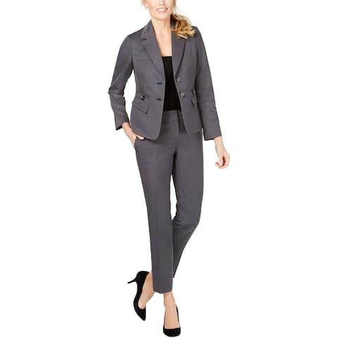 Le Suit Womens Twill Two Button Blazer Jacket, Grey, 14