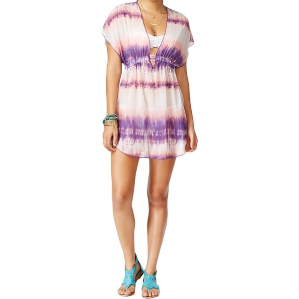 3d2dbb6531 Shop Miken Womens Tie-Dye Smocked Swim Top Cover-Up - Free Shipping On  Orders Over $45 - Overstock - 17284630
